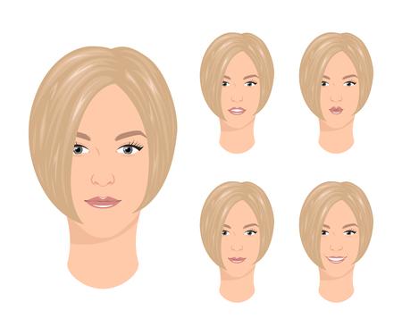 Frau mit verschiedenen Gesichtsausdrücken Standard-Bild - 93467188