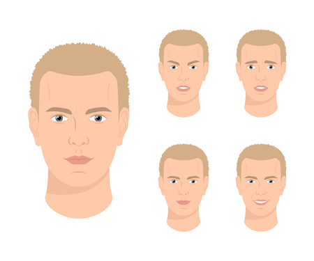 Man with various facial expressions Illustration