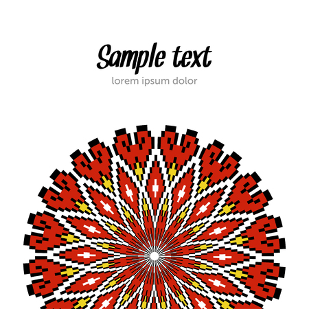 Ethnic template for cards, invitations, banners with Ukrainian embroidery national pattern, vector.