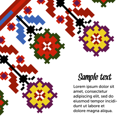 Ethnic template for cards, invitations, banners with Ukrainian national pattern, vector. Ilustração