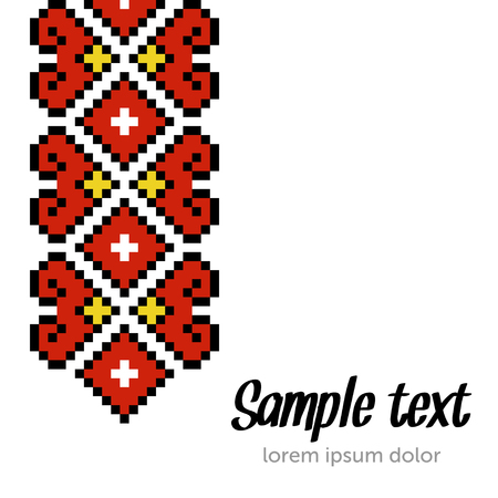 Ethnic template for cards, invitations, banners with Ukrainian embroidery national pattern, Vector illustration.