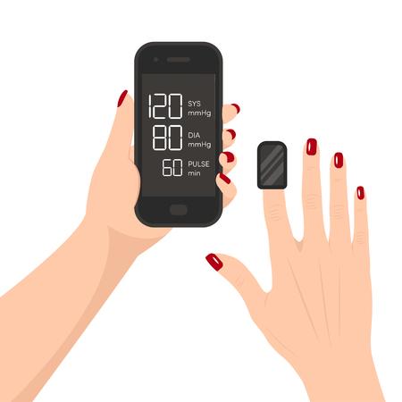 Finger blood pressure monitor. Pressure measurement by smartphone.