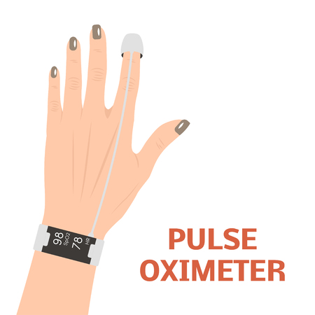 Pulse oximeter measuring pulse rate and oxygen saturation, Vector illustration.