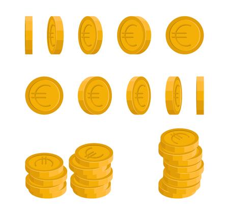 Icone di vettore di euro moneta ad angoli diversi. Concetto di una moneta rotante.