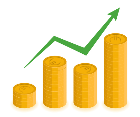 Euro growth concept. Vector stacks of coins with increasing arrow