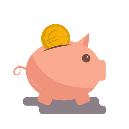 Vector image of Euro coin falling into the piggy bank