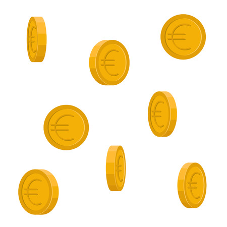 Image of vector Euro coins falling down.