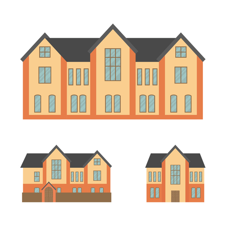 Set of two story buildings in flat style, vector.