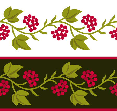 Vector ethnic Ukrainian seamless patterns. Slavic national floral ornaments with guelder rose