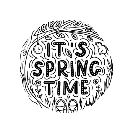 Its springtime lettering phrase. Vector black and white round floral design