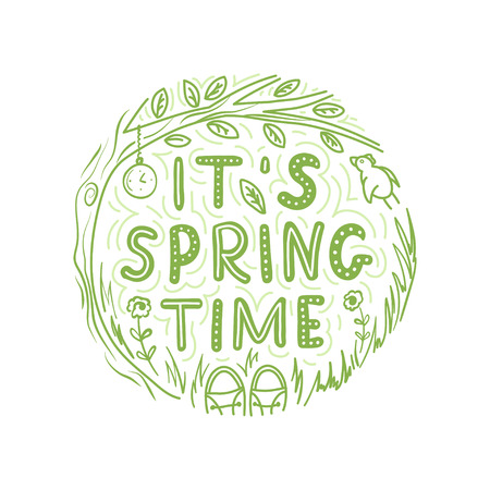 Its springtime lettering phrase vector round floral design with flowers, tree, leaves, bird and snickers.