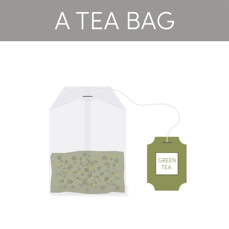 Paper tea bag vector icon in flat style
