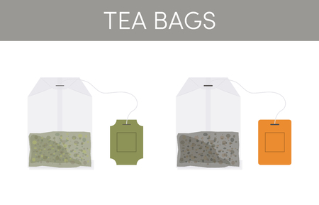 Tea bags vector icons in flat style Illustration