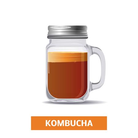 Kombucha tea in a glass jar, vector icon Foto de archivo - 115007843
