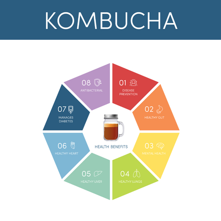 8 health benefits of kombucha tea, vector infographic 스톡 콘텐츠 - 115007845
