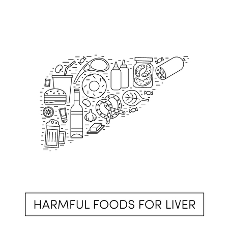 Vector cartoon illustration of harmul foods for a liver. Outline products in the shape of a human liver
