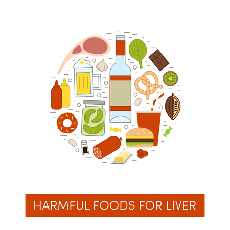 Vector cartoon illustration of harmul foods for a liver. Bad products in the shape of a circle