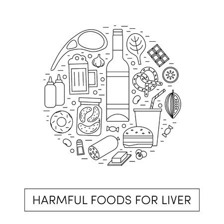 Vector cartoon illustration of harmul foods for a liver. Bad products in the shape of a circle Vektoros illusztráció