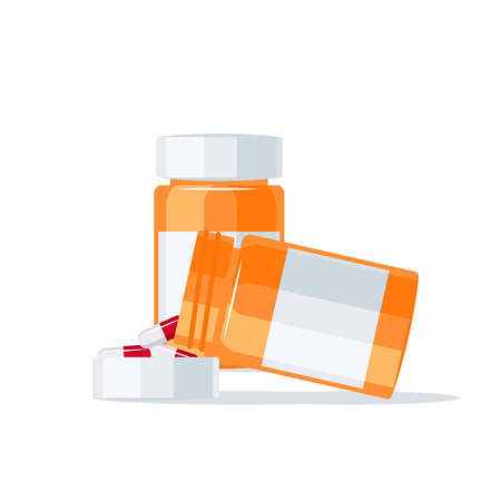 Medications vector concept. Drugs pouring out of the pill bottle into the lid. Çizim