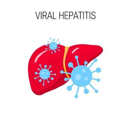 Concept d'hépatite virale. Illustration vectorielle d'un foie malsain dans un style plat