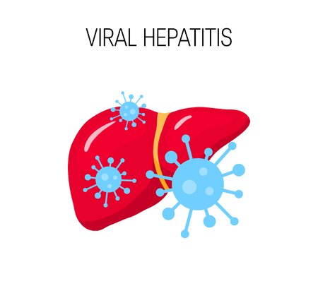 Viral hepatitis concept. Vector illustration of a unhealthy liver in flat style