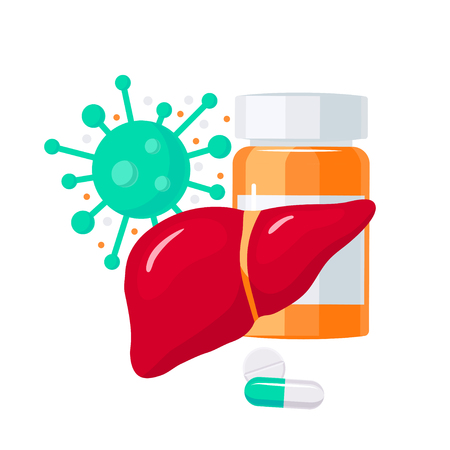 Antiviral drugs for liver diseases. Vector illustration in flat style