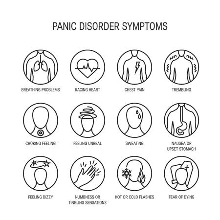 Sintomi di attacco di panico, icone di linea, illustrazione vettoriale. Vettoriali