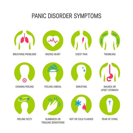 Panic attack symptoms, line icons, vector illustration.