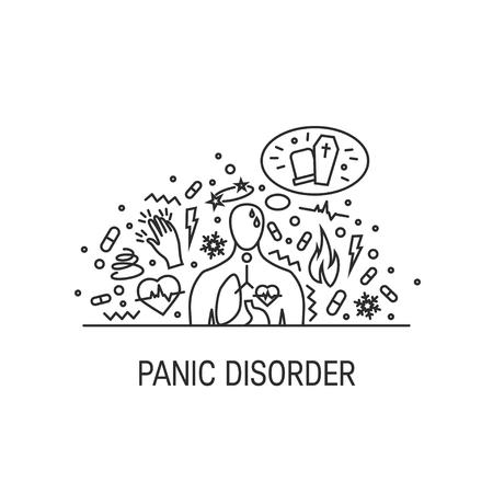 Concept de vecteur de trouble panique composé d'icônes de ligne simples Vecteurs