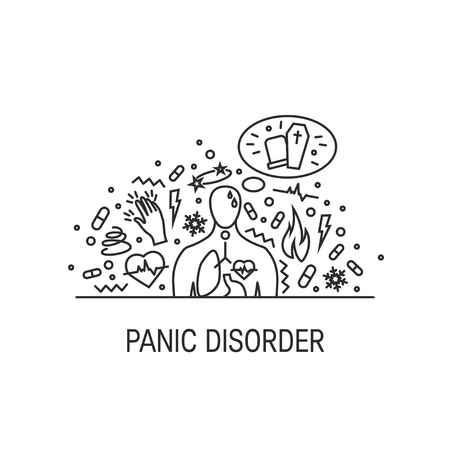 Panic disorder vector concept made of simple line icons