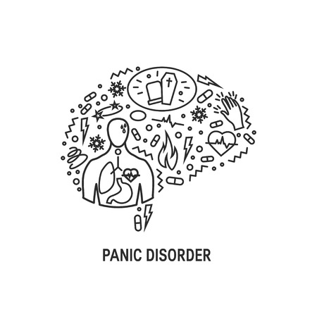 Panic disorder concept made of simple line icons in the shape of human brain, vector