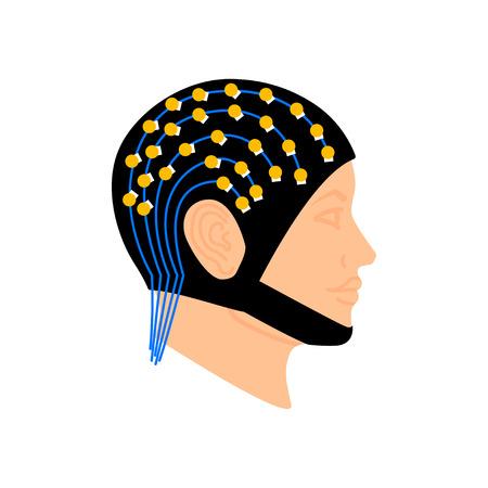 Electroencephalography vector concept. Brain wave measurement. Human head in EEG cap Illustration