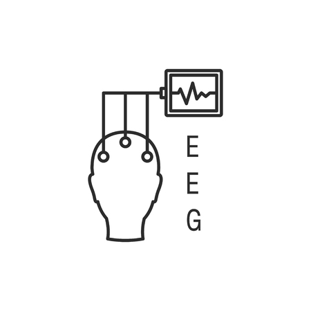 Electroencephalography vector line icon. Brain wave measurement. Human head in EEG cap