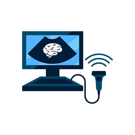 Cerebral vessels ultrasound concept, vector illustration.