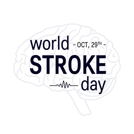 World stroke day design. Vector concept for banners or posters in flat style. Human brain and text template.