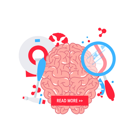 Neurology concept made of flat icons, vector illustration. Template for web banner Illustration
