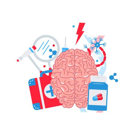 Concepto de neurología de iconos planos, ilustración vectorial.