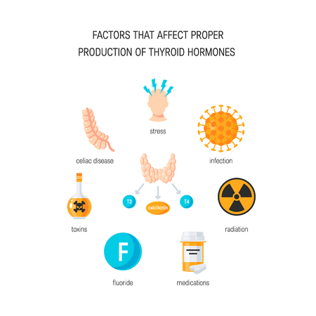 Factors that affect proper thyroid hormones. Vector medical illustration in flat style