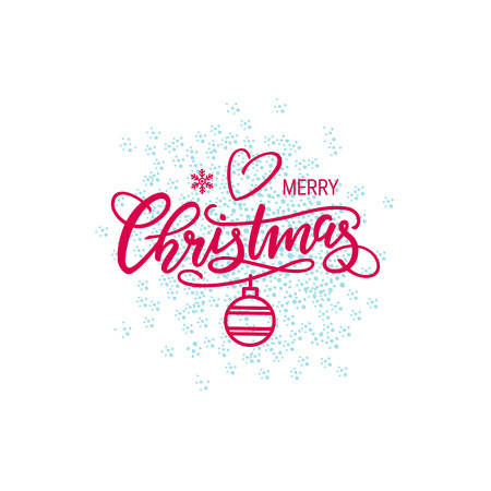 Christmas hand-drawn lettering, vector illustration. Simple red xmas design with handwriting text