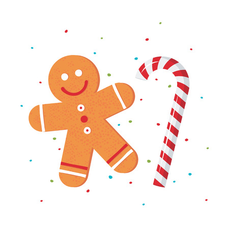 Christmas gingerbread man and candy cane on white background in flat style. Vector holiday design