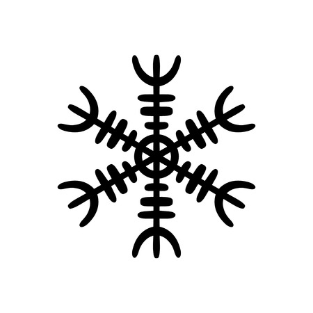 Simple hand drawn icon of a snowflake. Black vector illustration on white background