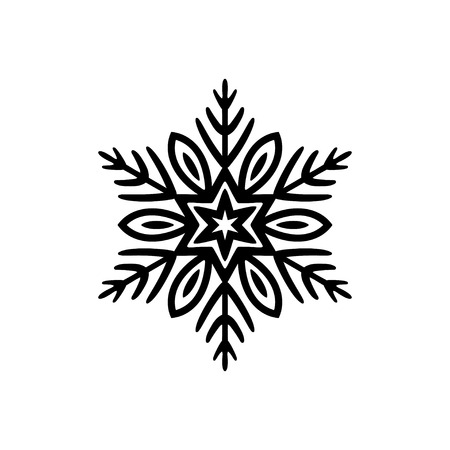 Free hand icon of a snowflake. Simple black vector illustration on white background Stock Illustratie