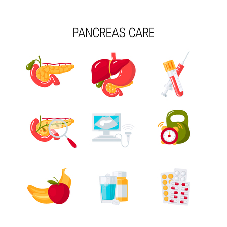 Set of pancreas care icons in flat style. Medical vector illustration Illustration