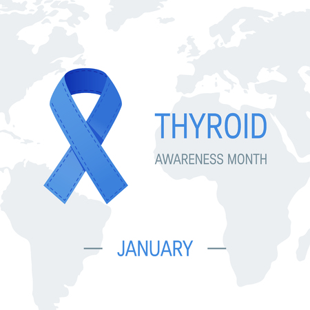 Thyroid awareness month concept. Square design with blue ribbon and world map, vector Vectores