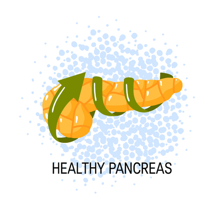 Healthy pancreas concept. Medical vector illustration of pancreas and arrows symbolizing health Vettoriali