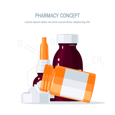 Medicine vector concept. Pills pouring out of the medication bottle into the lid and glass vials in flat style on white background. Medical design for flyers, posters, web banners etc.