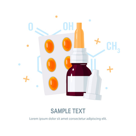 Medicine vector concept. Nasal drops and pills in blister in flat style on white background. Medical design for flyers, posters, web banners etc. Illustration