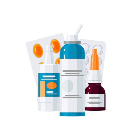 Medicine vector concept. Medication bottles and pills in blisters in flat style on white background Illustration