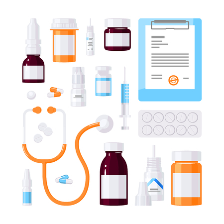 Set of medical items, vector concept. Bottles with medications, patient chart, stethoscope, pills and drops in flat style on white background