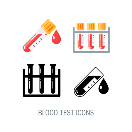 Set of medical icons for blood test infographic. Vector illustration in flat style on white background